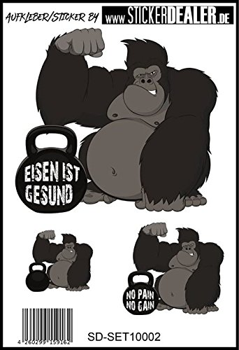 Aufkleber-Set Eisen ist Gesund Bodybuilding Kraftsport Fitness
