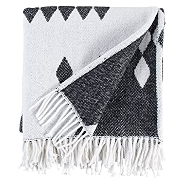 Rivet Colorful Geometric Diamond Jacquard Reversible Throw Blanket, 50 x60 , Black/White