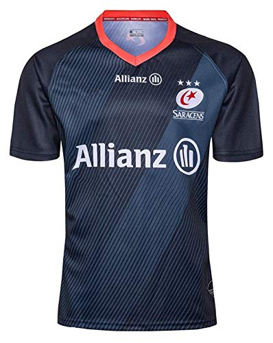 2019 sarassen Rugby-Trikots, Weltcup Rugby-Shirt Training T-Shirt, Rugby-Fan T-Shirts Drucken Top Kurzarm für Männer, Alternate Pro Rugby Jersey (Color : Blue, Size : M)