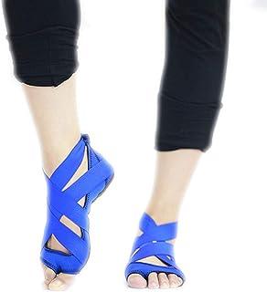Calcetines de yoga Aptitud Profesional Correas de Baile Deportivo Zapatos de Yoga Antideslizantes de Silicona de Fondo Suave (Color : Blue)