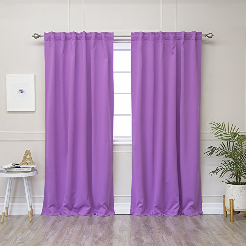"""Best Home Fashion Closeout Thermal Insulated Blackout Curtains - Back Tab/Rod Pocket - Violet - 52"""" W x 84"""" L -(Set of 2 Panels)(View Amazon Detail Page)"""