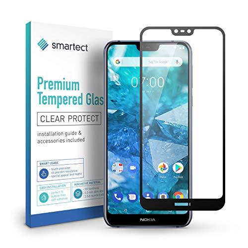 smartect Panzerglas kompatibel mit Nokia 7.1 [Full Screen] - Bildschirmschutz mit 9H Festigkeit - Panzerglas bedeckt ganzes Bildschirm komplett Full Cover