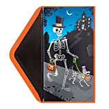 Halloween Card Dog and Owner Skeletons Trick or Treating