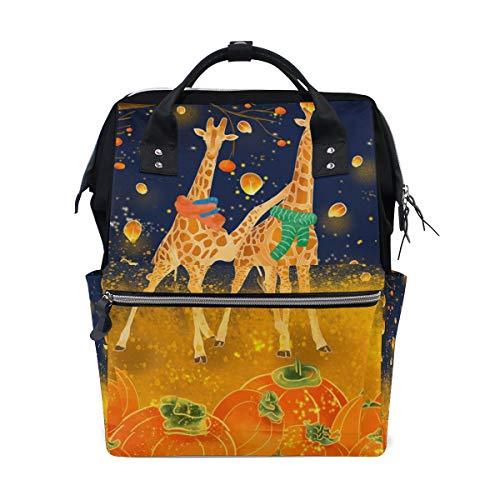 Orangefarbener Giraffe Kürbis Laterne Schulrucksack mit großer Kapazität für Mumienentaschen Laptop Handtasche Casual Reiserucksack für Damen Herren Erwachsene Teenager Kinder