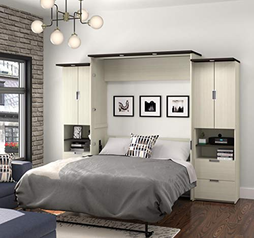 Queen Murphy Bed with Desk and 2 Storage Units with Drawers and Doors, Lumina Collection by Bestar