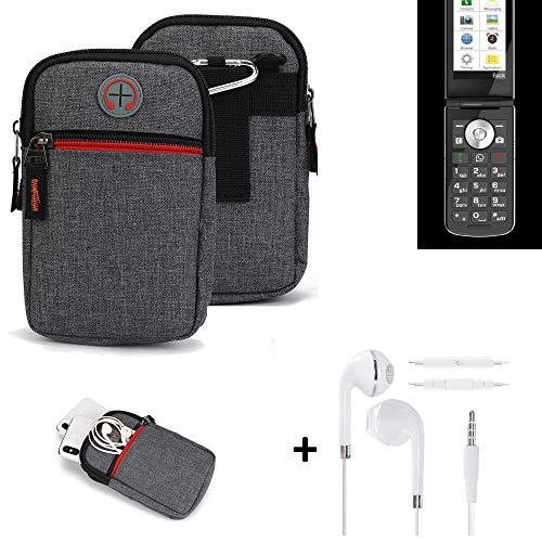 K-S-Trade® Gürtel-Tasche + Kopfhörer Für Emporia TOUCHsmart Handy-Tasche Holster Schutz-hülle Grau Zusatzfächer 1x
