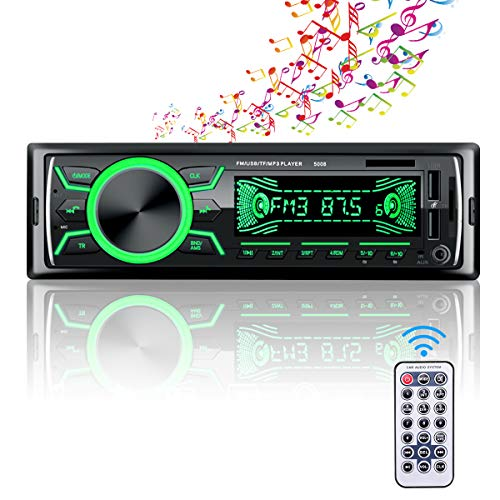 Autoradio Bluetooth Mains Libres, 4x60W Radio Voiture Support FM/USB/MP3/WMA/TF/AUX +Télécommande,7 Couleurs d'Eclairage,Deux USB Port