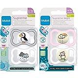 MAM Dental Schnuller Supreme, 4er Pack for Girls,...