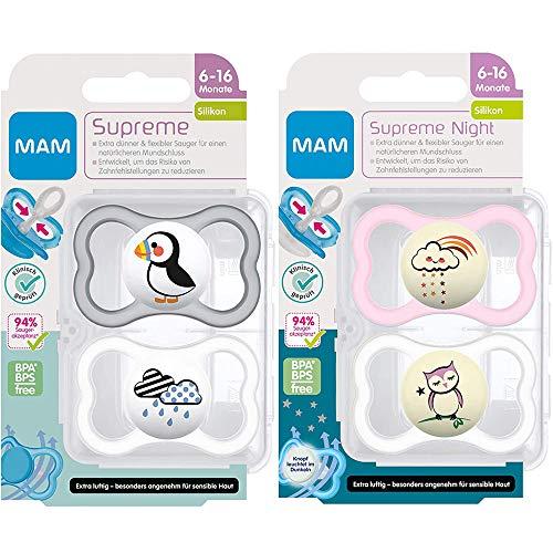 MAM Dental Schnuller Supreme, 4er Pack for Girls, 6-16 Monate, haut- und zahnfreundlicher Schnuller, Skin Soft Silikon