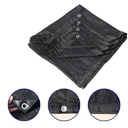 Tela de protección solar Pantalla de tela negra 90% Tela de sombra Pantalla de tela solar con ojales, para cubierta vegetal Planta de perrera de invernadero Perrera o piscina, 3X4M (9.84X13.12 pies)