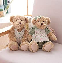 EXTOY 2 Pcs/Lot 26Cm Lovely Couple Teddy Bear with Cloth Plush Toys Dolls Stuffed Toy Kids Children Girl Birthday U Must Have 5 Year Old Boy Gifts My Favourite Superhero Classroom