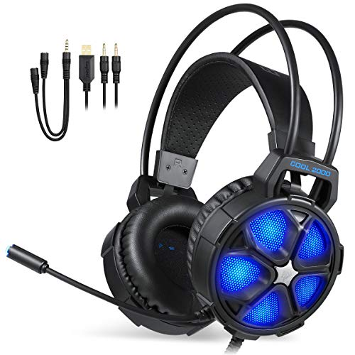 Gaming Headset, EasySMX COOL 2000 Over Ear Stereo Gaming Headphone with Mic and Volume Control, Y Splitter Cable, for PC/ MAC / NEW Xbox One Slim / PS4 / Smartphone/ Nintendo Switch, Dynamic LED Lighting (Black-Blue)