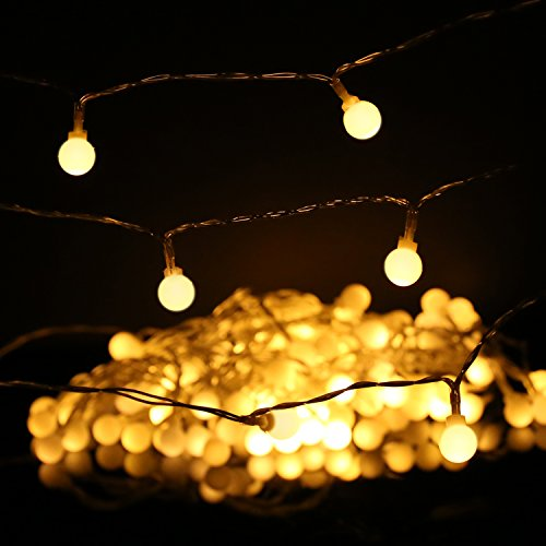 MoKo Globe String Lights, 5m/16ft 40 LED Waterproof Ball Lights, 2 Lighting Modes, Battery Powered Fairy Light for Halloween Christmas Weddings Birthday Family School Parties Décor - Warm White
