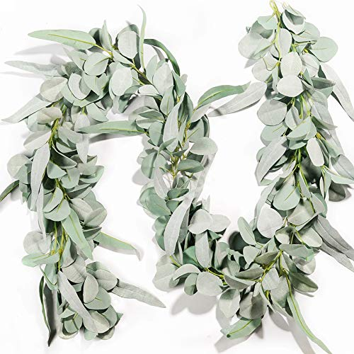 Miracliy Eucalyptus Garland, 6.2ft Artificial Lambs Ear Greenery Vine with Willow Leaves for Wedding Backdrop Table Runner Mantle Party Home Decor