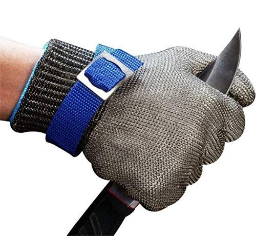 ACCE Guantes Anticorte Seguridad Corte Prueba puñalada Resistente Acero Inoxidable de Malla metálica Carnicero Guante de Color Azul Nivel 5 (L)