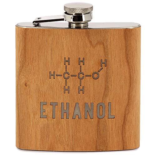 Donari ® - Edelstahl Flachmann mit Gravur: Ethanol - Inklusive edler Geschenkverpackung - Kreative Geschenkidee für Lehrer Chemiker - Lustiges Geschenk für Männer