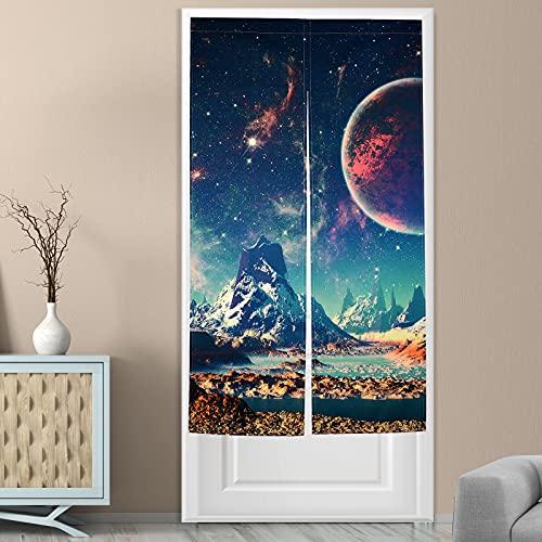 Dermijer Japanese Noren Curtain Tapestry Planet Mountain Doorway Curtain Galaxy Door Hanging Tapestry Door Way Curtain (Planet Mountain)