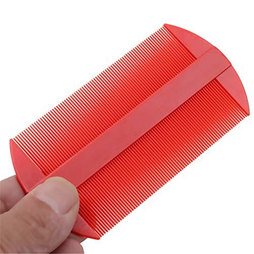kemai doppelseitige Kämme mit schmalen Zähnen, tragbar, für Läuse, Flöhe und Läuse, Schuppen, plastik, rot, 10.7cm*5.5cm