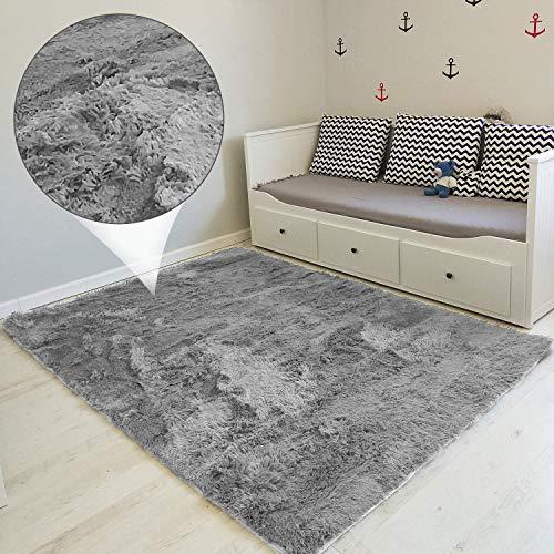 Amazinggirl Hochflor Teppich wohnzimmerteppich Langflor - Teppiche für Wohnzimmer flauschig Shaggy Schlafzimmer Bettvorleger Outdoor Carpet (Grau, Rund Ø 120 cm)