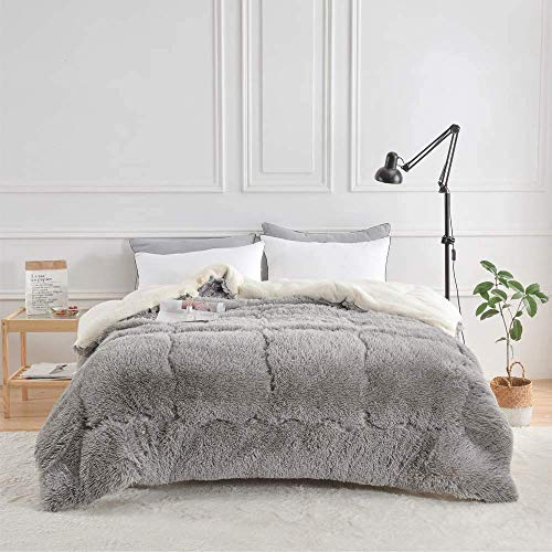 LEILEI Winter quilts Cashmere cover Warm lamb feeling Polyester quilts,soft plush,soft and nice,gray,180x220cm3kg