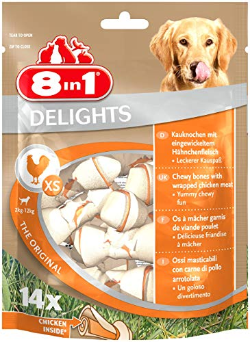 8in1 Delights Chicken, gesunder Hunde-Kauknochen mit hochwertigem Hähnchenfleisch eingewickelt in Rinderhaut, versch. Größen für kleine, mittlere und große Hunde