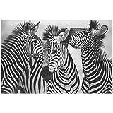 Cuadro de cebra en blanco y negro, decoración dulce para el hogar, pintura en lienzo, arte de pared, impresión, póster de animal encantador para dormitorio