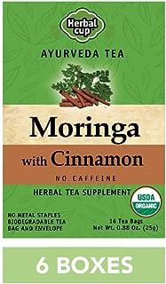 HERBAL CUP TEA MORINGA CINNAMON - 6 Pack, 96 Tea Bags Total ORGANIC