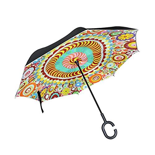 Folding Umbrellas Colorful Yoga Floral Mandala Inverted Golf Umbrella UV Anti Windproof Reverse Folding Umbrellas with C-Shape Handle for Car Outdoor Travel