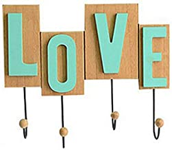 Wall Mounted Coat Rack Clothes Hat Hanger Holder Hooks Creative Love Word Wood, Yellow, 29.5x1.5x20CM cxjff (Size : 1 piece)