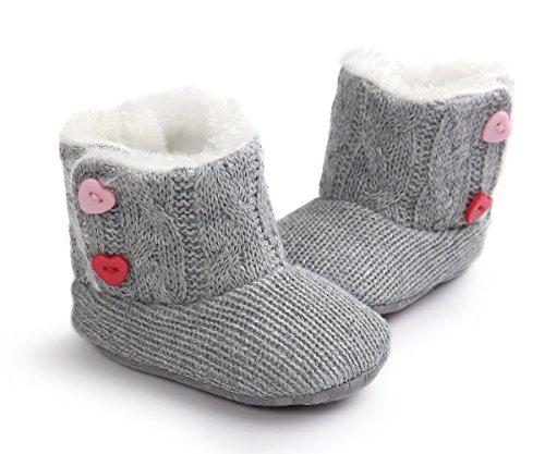 ZUMUii Butterme Baby Boys Girls Soft Sole Anti Slip Warme Winter Säugling Strickpelz Prewalker Schuhe Schneestiefel Socken mit Herz Button Crib 3-6 Monate