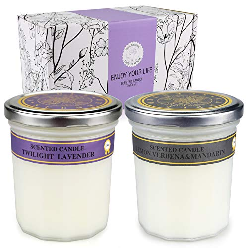 Candles Gifts for Women, Scented Candles Birthday Gifts for Her Jar Candles for Mom Scented Candles Soy Candles Premium Aromatherapy Candles for Mother's Day- Lavender, Lemon Verbena & Mandarin(A)