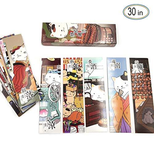 Lesezeichen 30 Stücke Japan Katze Design Karte Drucken Lesezeichen für Kinder Frauen Studenten Papier Lesezeichen Lesen Anreize Schüler Preise Klassenzimmer Auszeichnungen Angebot Kleines Geschenk
