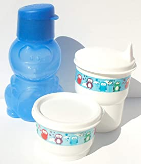 Tupperware Danny the Dinosaur Mini Sports Bottle Eco Animals Snack Cup Sippy Tumbler Set