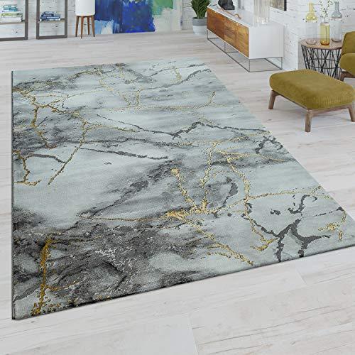 Paco Home Tapis De Salon À Poils Ras Moderne Design Marbre Motif Abstrait Gris Doré, Dimension:160x230 cm