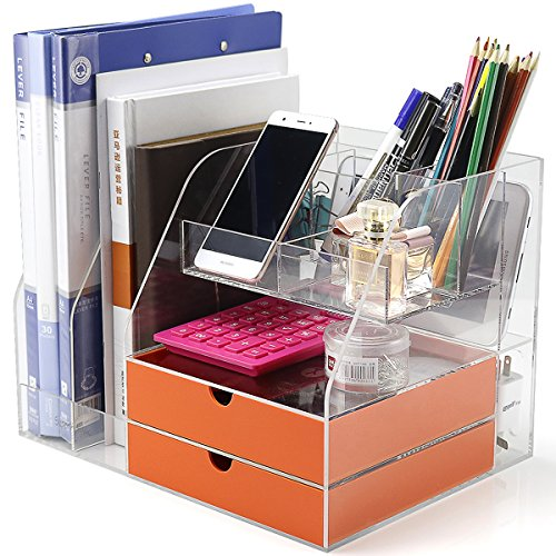 Office Desktop Organizer and Storage,Desktop Organizer Box for Office/Home/School Collecting All Desk Office Supplies and Accessories, Acrylic, Clear with Set 2 Light Orange Drawer