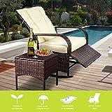 ENSTVER Indoor & Outdoor Reclining Chair-Porch Garden Lawn Deck Wicker Rocke Chair-Auto Adjustable Rattan Sofa w/Cushion (Beige-White Cushion)