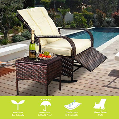 ENSTVER Indoor & Outdoor Reclining Chair-Porch Garden Lawn Deck Wicker Rocke Chair-Auto Adjustable Rattan Sofa w/Cushion (Beige-White Cushion)