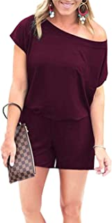 PRETTYGARDEN Women's Summer Casual Off Shoulder Short Sleeve Shorts Loose Jumpsuit Rompers with Pockets