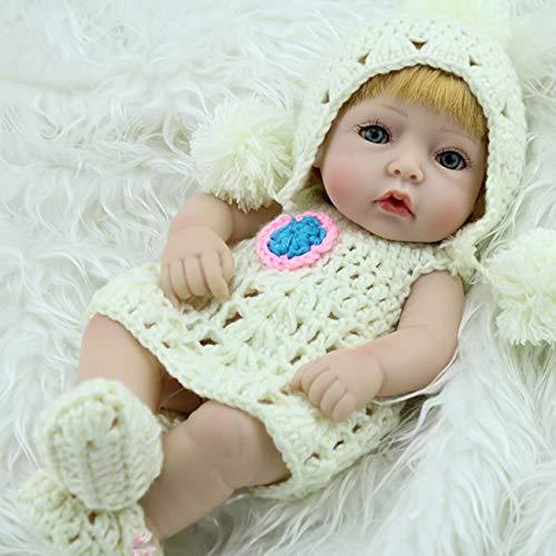 Ashley GAO 28 cm único pelo amarillo renacido bebé muñeca suave vinilo realista recién nacido muñeca niña con suéter y gorra zapatos mejor regalo