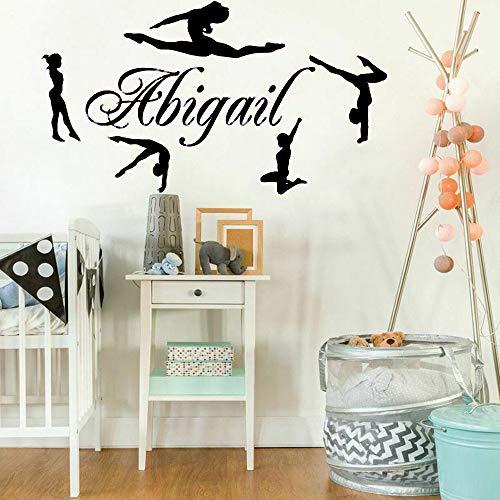Nome personalizzato Ginnasti Decalcomanie da muro in vinile Nomi personalizzati per ragazze Danza Decor Semplice Carino Divertente Home Interior Design Murales color-2-5 42x75cm
