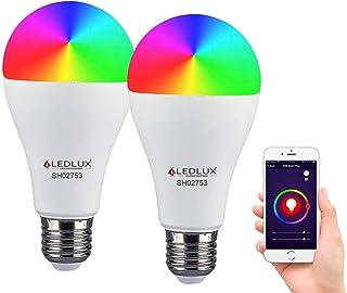 LEDLUX 2 piezas lámparas LED inteligentes WiFi RGB CCT Spotlight aplicación regulable compatible con Amazon Alexa Google H...