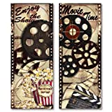 Movie Night! Classic Old-Fashioned Cinema 'Enjoy the Show' and 'Movie Time' Panel Set by Tre Sorelle Studios; Two 8x18in UNFRAMED Paper Posters