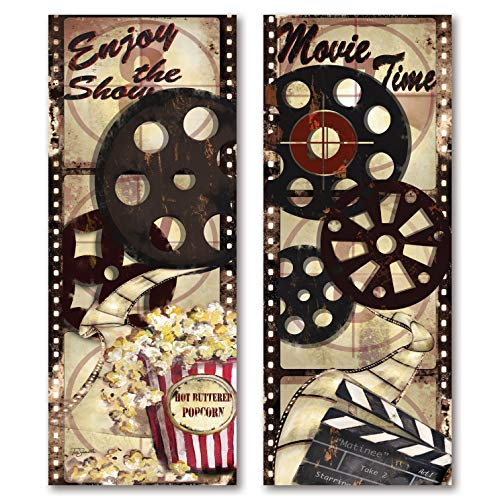 "Movie Night! Classic Old-Fashioned Cinema ""Enjoy the Show"" and ""Movie Time"" Panel Set by Tre Sorelle Studios; Two 8x18in Unframed Paper Posters"