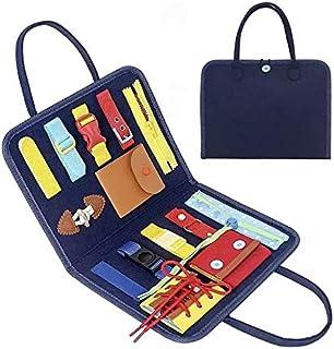Training Toy 知育バッグ ボタン ファスナー ジッパー 紐通し 靴ひも ちょうちょ結び ビジーボード 介護 療育 モンテッソーリ (バッグA)