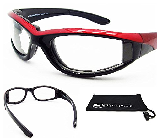 Motorcycle Transition sunglasses with polycarbonate photochromic Lens Clear to Smoke and Red Frame for men for women - Free Microfiber Cleaning Case