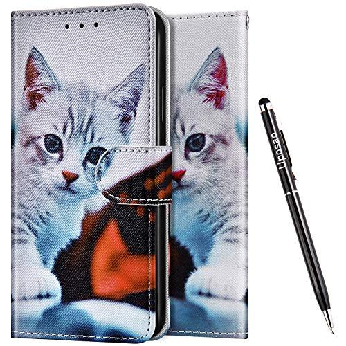 Uposao Kompatibel mit Huawei Honor 7X Hülle Leder Handyhülle Schutzhülle Bunt Cartoon Muster Flip Wallet Bookstyle Hülle Tasche Lederhülle Klapphülle Magnet Kartenfächer,Katze #2