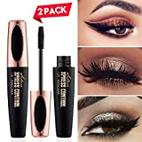 4D Silk Fiber Eyelash Mascara, Fiber Mascara,Extra Long Eyelash Mascara and Thick,Waterproof,Lasting All Day, Smudge Proof Eyelashes-2Pack