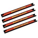 Navaris 4x tiras magnéticas para herramientas - soporte magnético de cuchillos 30. 5x2. 3cm - set bandas imantadas para cocina garaje jardín y taller
