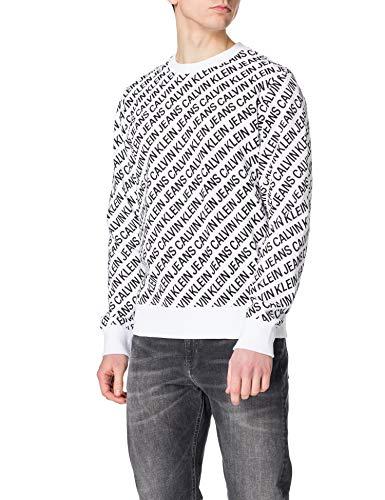 Calvin Klein Jeans Crew Neck AOP Diagonale Logo Girocollo, Bianco Brillante, M Uomo