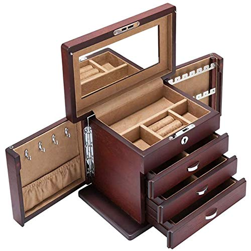 WYBFZTT-188 Caja de joyería - Estilo Femenino cajón de Madera Antiguo Multicapa Caja de Almacenamiento Organizador de Anillo joyero portátil Caja de joyería con Terciopelo Alineado